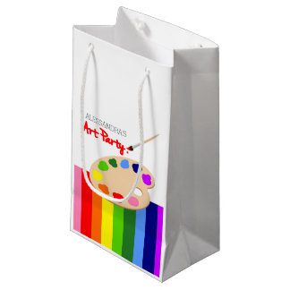 Rainbow Paint Palette Art Birthday Party Small Gift Bag