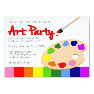 "Rainbow Paint Palette Art Party 5"" X 7"" Invitation Card"