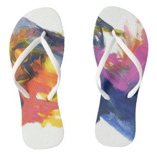 Rainbow Paint Slim Flip Flops