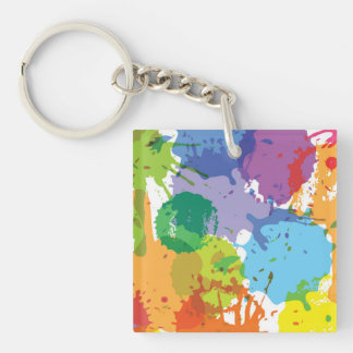 Rainbow Paint Splat Pattern Double-Sided Square Acrylic Key Ring