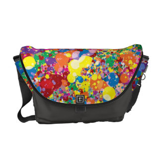 Rainbow Paint Splatter Messenger Bags