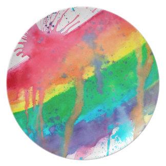 Rainbow Paint Splatter Plate