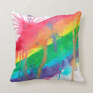 Rainbow Paint Splatter Throw Pillow