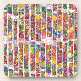 Rainbow Paint Splatter - Vertical Blocks Drink Coasters