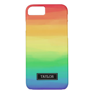 Rainbow Paint Strokes | Custom Name iPhone 8/7 Case