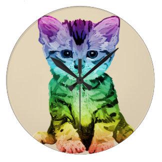 Rainbow Painted Kitten Clock