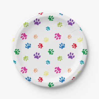 Rainbow Painted Paw Prints 7 Inch Paper Plate