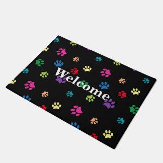 Rainbow Painted Paw Prints (dark) Doormat