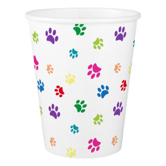 Rainbow Painted Paw Prints Paper Cup