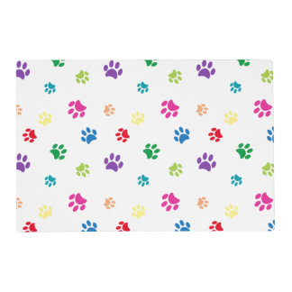 Rainbow Painted Paws Laminated Place Mat