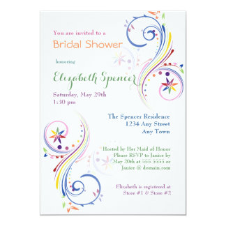 Rainbow Painted Swirls Bridal Shower Invitation