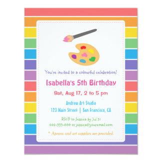 Rainbow Painting Arts Crafts Kids Birthday Party 11 Cm X 14 Cm Invitation Card