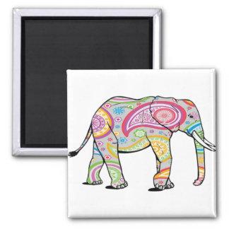Rainbow Paisley Elephant magnet