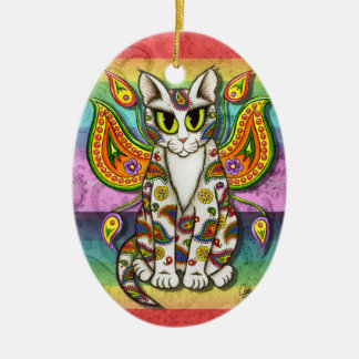 Rainbow Paisley Fairy Cat Fantasy Art Ornament