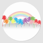 Rainbow PalmTrees Round Stickers
