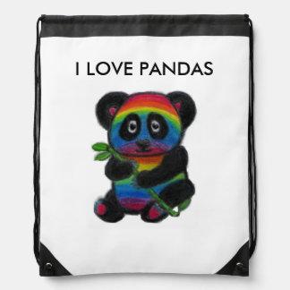 RAINBOW PANDA CUTE BAG SCHOOL BIRTHDAY ETC DRAWSTRING BAG