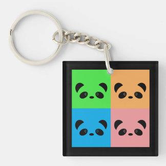 Rainbow Panda Double-Sided Square Acrylic Key Ring