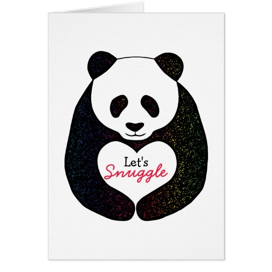 Rainbow Panda Heart Let's Snuggle Valentine's Card