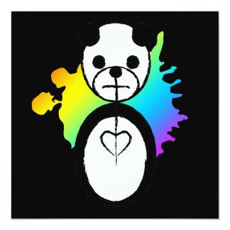 rainbow panda splatz 13 cm x 13 cm square invitation card