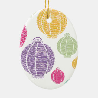Rainbow Paper Lanterns Doodle Colorful Pattern Christmas Tree Ornaments
