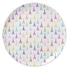 Rainbow Paris Eiffel Tower pattern Plate