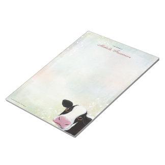 Rainbow Pastel Black & White Cow Large Notepad
