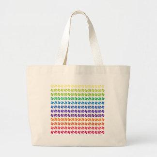 rainbow pastel colors fabric design circles Antiqu Canvas Bag