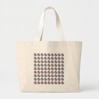 rainbow pastel colors fabric design circles Antiqu Canvas Bags