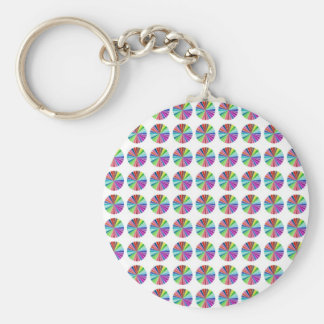 rainbow pastel colors fabric design circles Antiqu Basic Round Button Key Ring