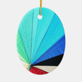 rainbow pastel colors fabric design circles Antiqu Double-Sided Oval Ceramic Christmas Ornament