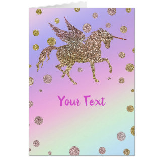 Rainbow Pastel Gold Dots Unicorn Birthday Party Card