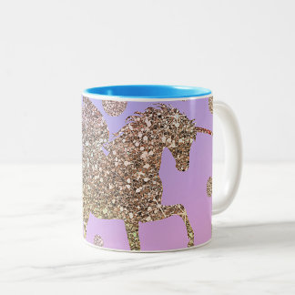 Rainbow Pastel Gold Dots Unicorn Trendy Girls Two-Tone Coffee Mug