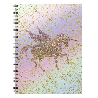 Rainbow Pastel Gold Glitter Unicorn Trendy Girls Notebook
