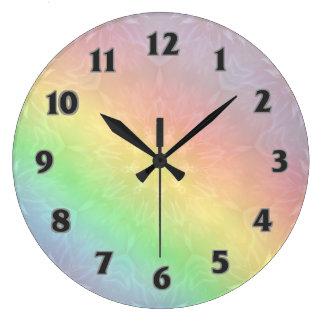 Rainbow Pastel Mandala design Large Clock