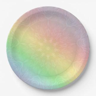 Rainbow Pastel Mandala design Paper Plate