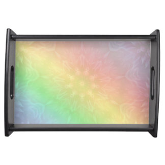 Rainbow Pastel Mandala design Serving Tray