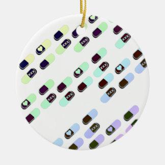 Rainbow Pastel Pills Pattern Christmas Ornament