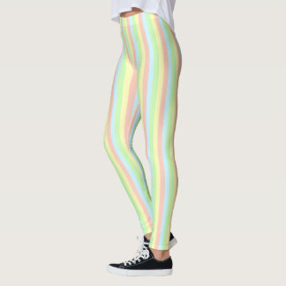 Rainbow Pastel Pinstripe Leggings
