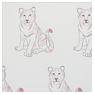 Rainbow Pastel Tiger pattern fabric