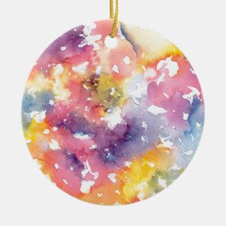 Rainbow pastels round ceramic decoration