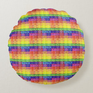 Rainbow Patchwork Plaid Pattern Art Round Pillow