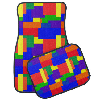 Rainbow Patchwork Quilt Abstract Pattern Car Mats