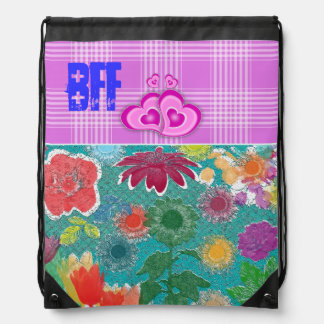 Rainbow Pattern Purple Flowers Pink Tartan BFF Backpack