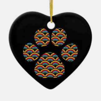 Rainbow Paw Ceramic Heart Decoration