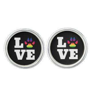 Rainbow paw cuff links