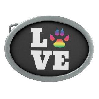 Rainbow paw oval belt buckle