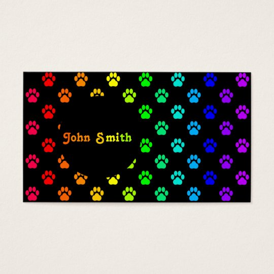 Rainbow Paw Print Business Card