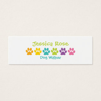 Rainbow Paw Print Dog Walker Mini Business Card