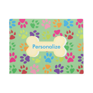 Rainbow Paw Print Door Mat