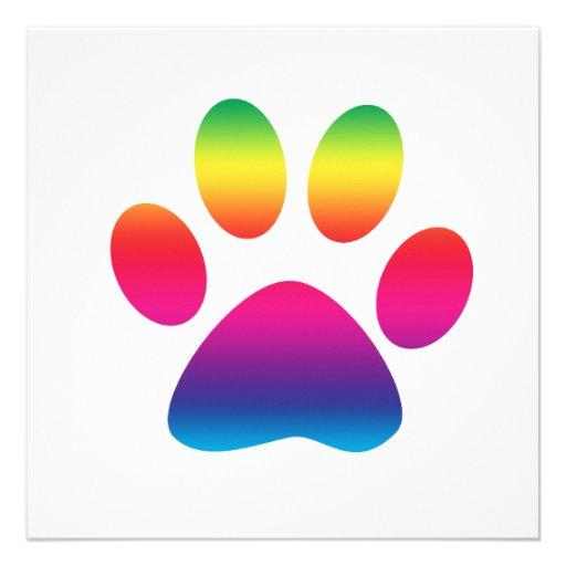 Rainbow Paw Print Personalized Announcements | Zazzle
